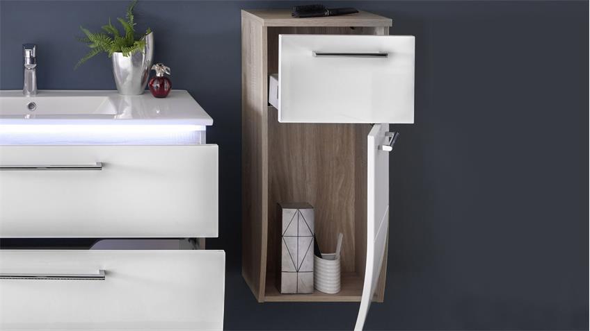 Unterschrank MIAMI Sonoma Eiche Hochglanz weiß Badezimmer Hängeschrank
