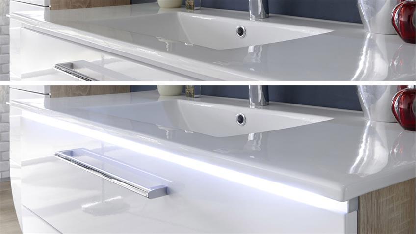 Badezimmer Set MIAMI 2-tlg mit Becken Eiche Hochglanz weiß inkl. LED