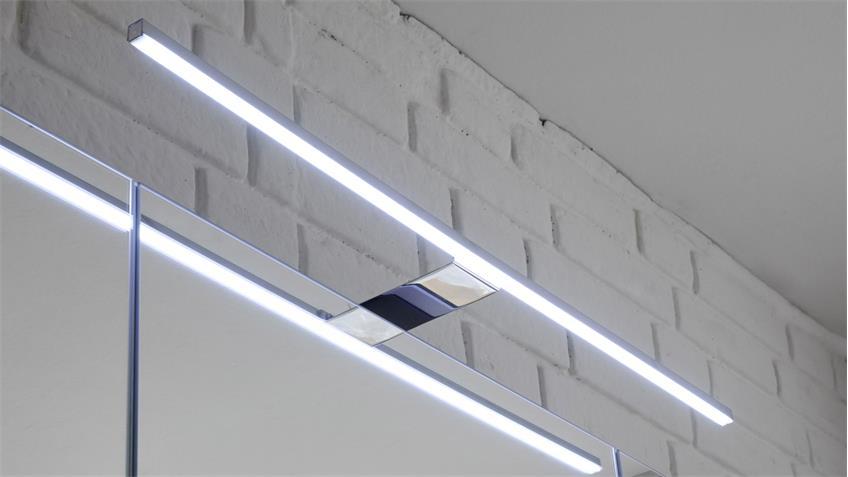 Spiegelschrank MANHATTAN in Grau mit LED Beleuchtung für Bad