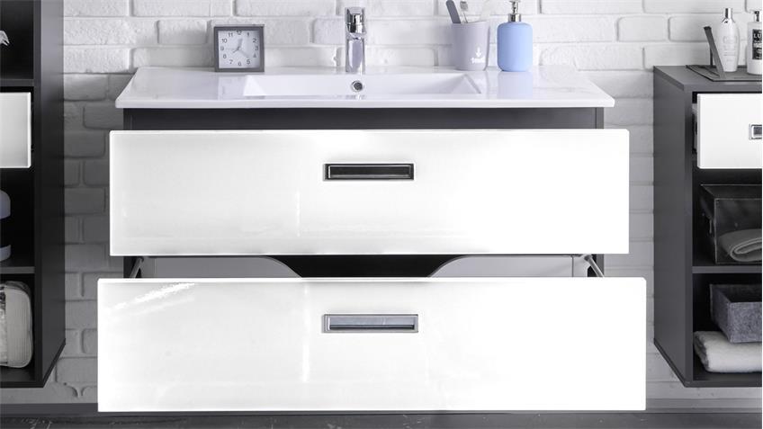 Waschbeckenunterschrank MANHATTAN mit Becken grau weiß Hochglanz
