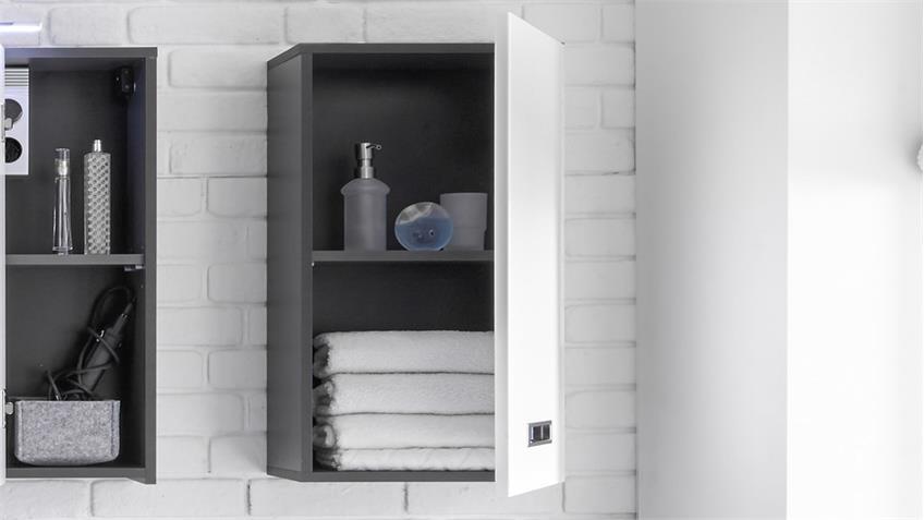 Hängeschrank MANHATTAN grau weiß Hochglanz Badezimmer 1-trg