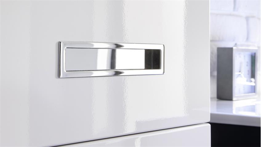 Unterschrank MANHATTAN grau weiß Hochglanz Badezimmer Hängeschrank