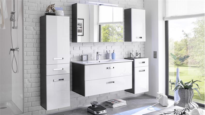 Badezimmer Set MANHATTAN 5-tlg in grau weiß Hochglanz mit LED & Becken