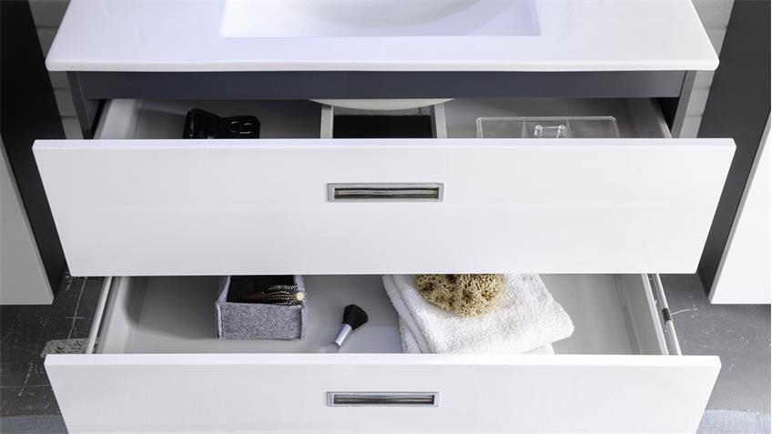 Badezimmer Set MANHATTAN 2-tlg in grau weiß Hochglanz mit LED & Becken