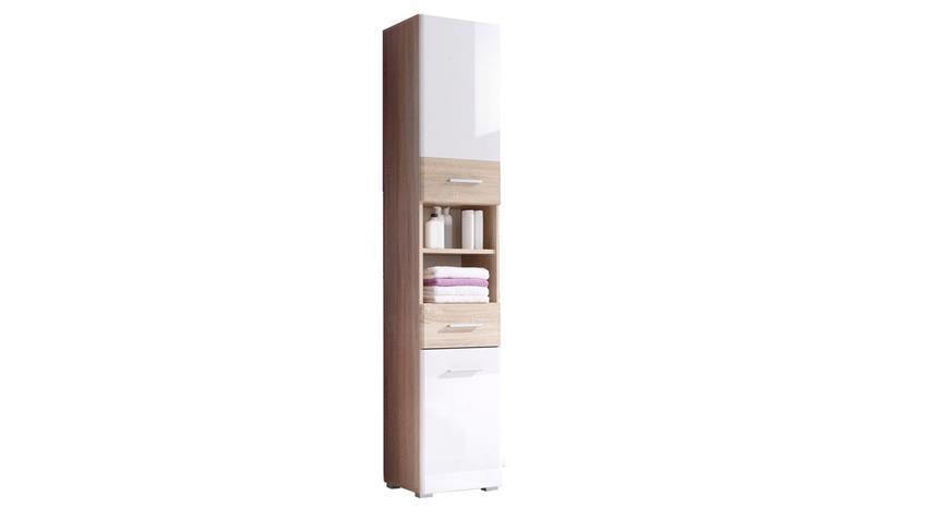 hochschrank barolo badezimmer schrank in sonoma eiche wei hochglanz. Black Bedroom Furniture Sets. Home Design Ideas