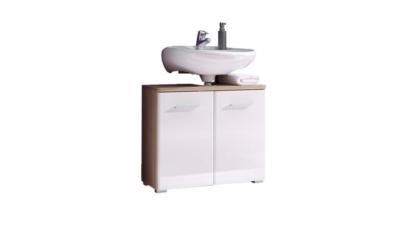 Waschbeckenunterschrank BAROLO Sonoma Eiche & weiß Hochglanz Bad