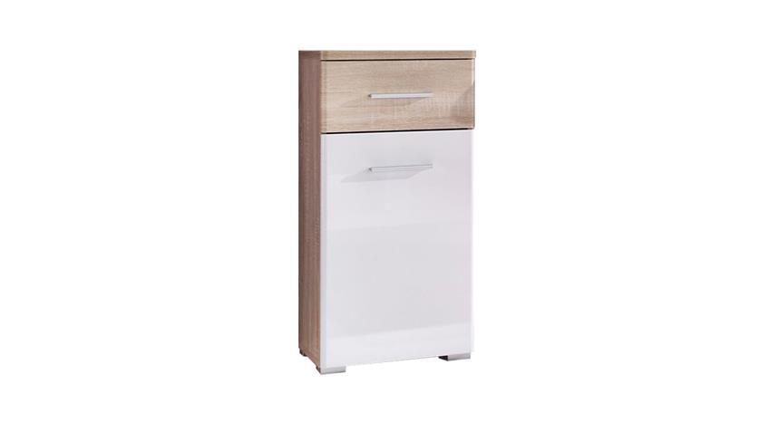 Kommode BAROLO Badezimmer 1-türig Sonoma Eiche weiß glanz Unterschrank