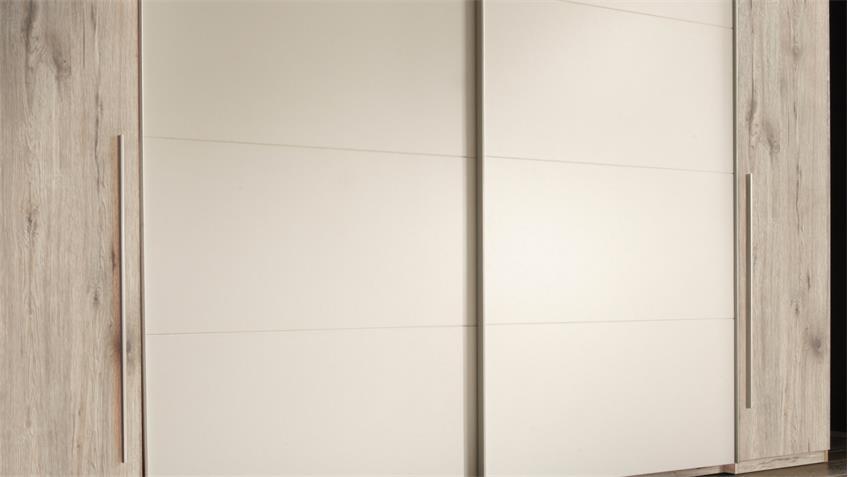 Schwebetürenschrank MATCH 2 Schrank in Sandeiche und weiß 315 cm