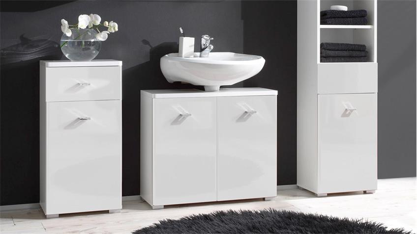 Waschbeckenunterschrank BAROLO weiß Hochglanz Badezimmer Waschtisch