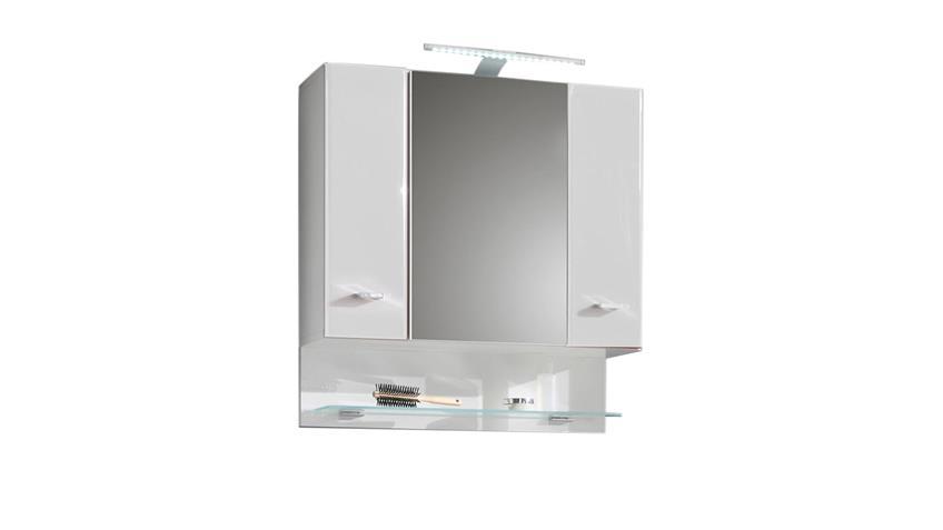 Spiegelschrank BAROLO Bad Schrank Spiegel weiß Hochglanz mit LED
