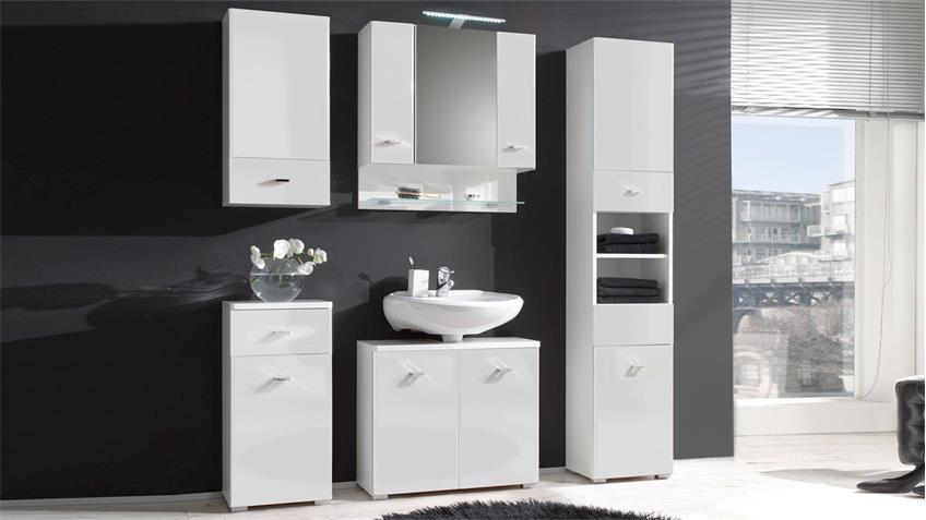 Badezimmer Set BAROLO 5-teilig Bad Schränke weiß Hochglanz mit LED