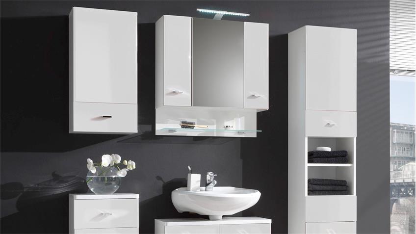 Hochschrank BAROLO Badezimmer Bad Schrank in weiß Hochglanz 2-türig