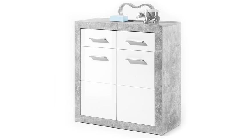 Kommode STONE Schrank Beton und glänzend weiß 82 cm