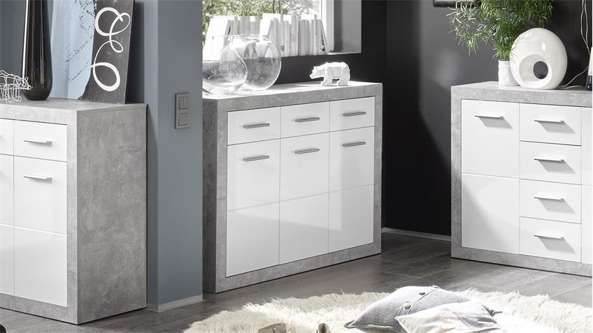 Kommode STONE Schrank 3-türig Beton glänzend weiß 117cm