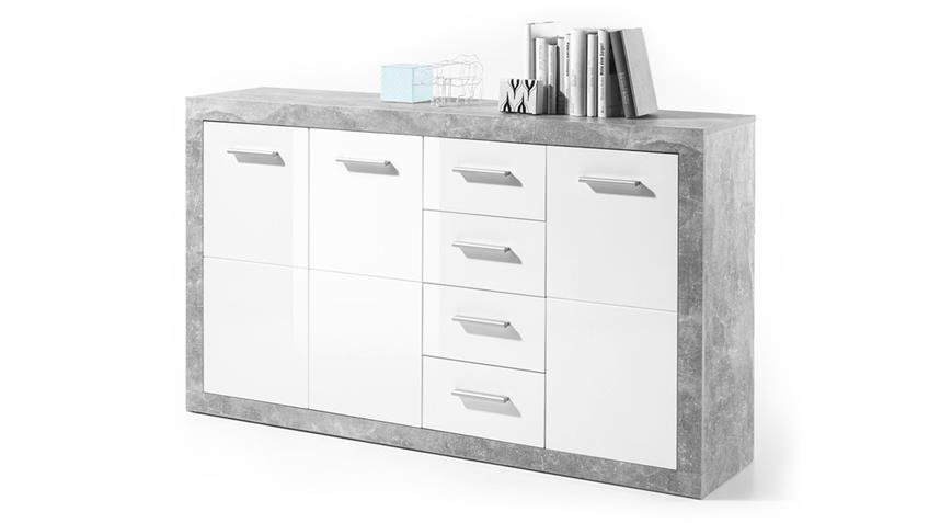 Kommode Stone 3-türiges Sideboard in Beton Optik und weiß 152 cm