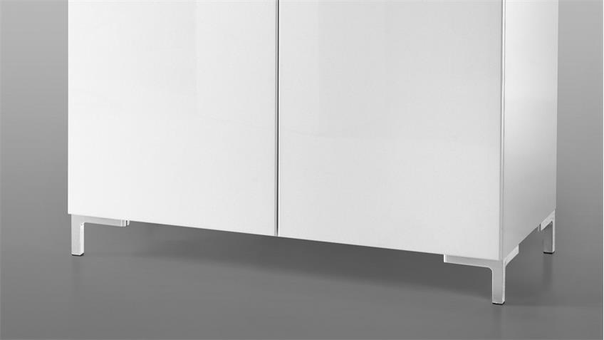 Kommode SHINE Schrank 2-türig in Weiß Lack Hochglanz 90cm
