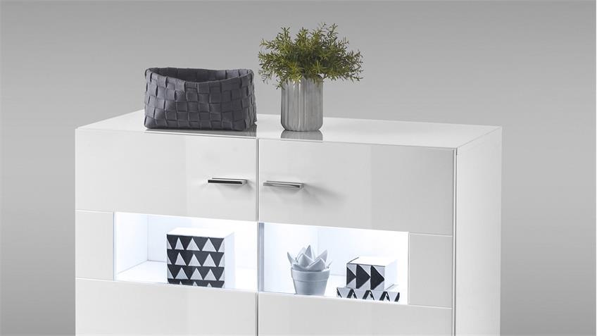 Kommode SHINE Schrank 2-türig weiß Glanz Lack inkl. LED