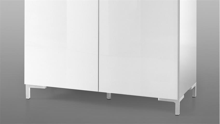 Kommode SHINE Highboard 2-türig weiß Glanz Lack mit LED