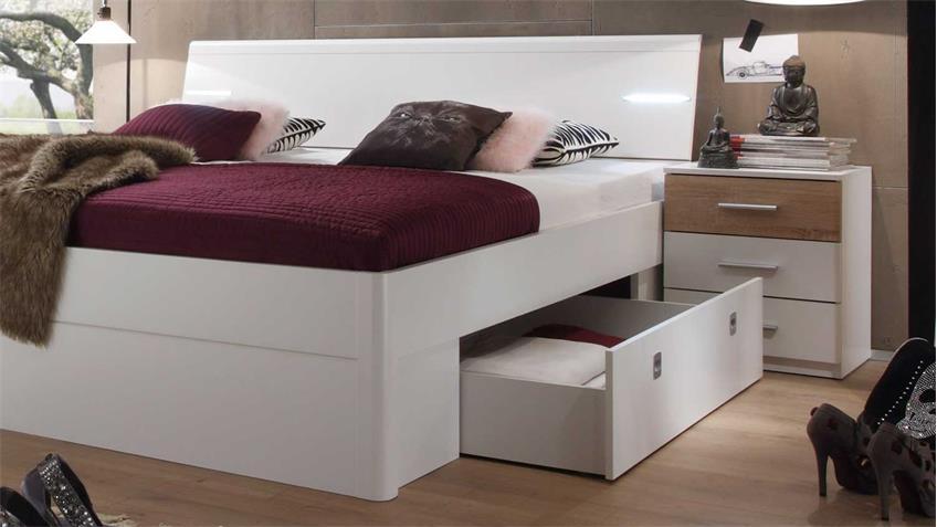 Schlafzimmer Set mit Kleiderschrank Victor 4 Bettanlage Mars weiß