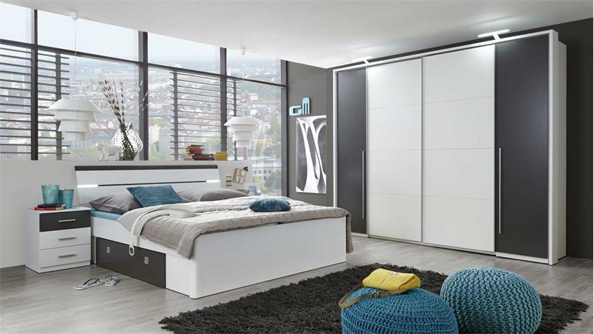 Schlafzimmer Set mit Kleiderschrank Match 2 Bettanlage Mars weiß