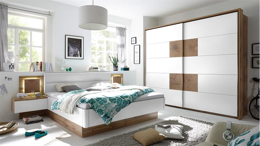 schlafzimmer capri wildeiche wei und hirnholz inkl led. Black Bedroom Furniture Sets. Home Design Ideas