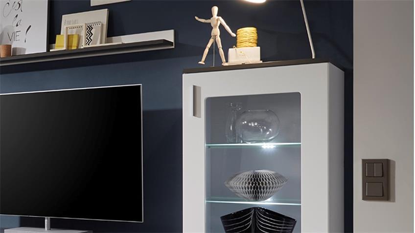 Wohnwand 3 JUMP in MDF weiß und grau inkl. LED-Beleuchtung
