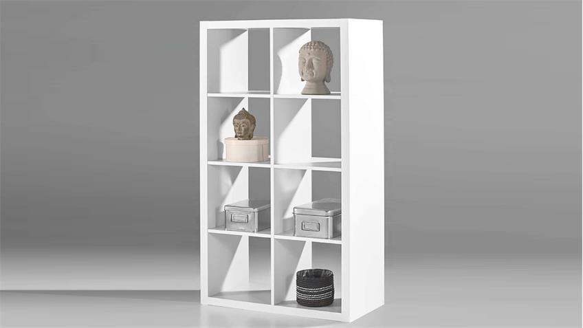 Regalsystem Raumteiler Style Bücherregal weiß mit 8 Fächern 4x2