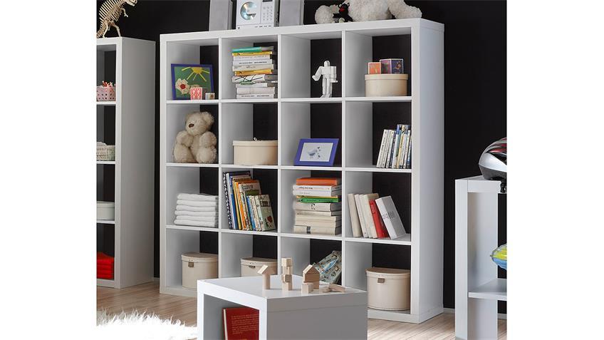 Regalsystem Raumteiler Style Bücherregal weiß 16 Fächer 4x4