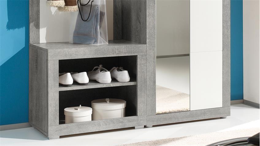 Kompaktgarderobe Stone 3-teilig in Beton Optik und Weiß