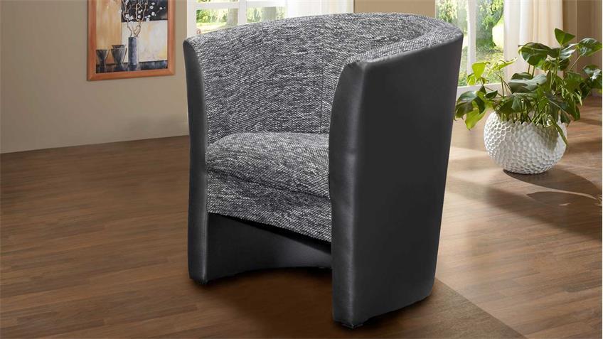 cocktailsessel pele sessel schwarz mit sitz in webstoff anthrazit. Black Bedroom Furniture Sets. Home Design Ideas