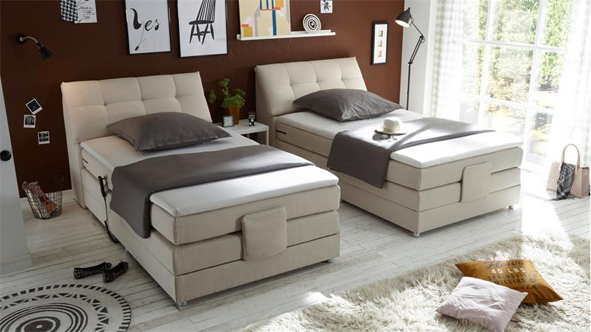 boxspringbett concort stoff creme komfortbett mit motor 120x200 cm. Black Bedroom Furniture Sets. Home Design Ideas