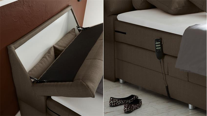 boxspringbett concort stoff stone komfortbett mit motor 120x200 cm. Black Bedroom Furniture Sets. Home Design Ideas