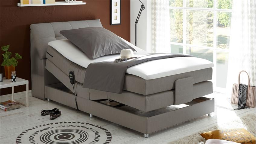 boxspringbett concort stoff silber komfortbett mit motor 120x200 cm. Black Bedroom Furniture Sets. Home Design Ideas