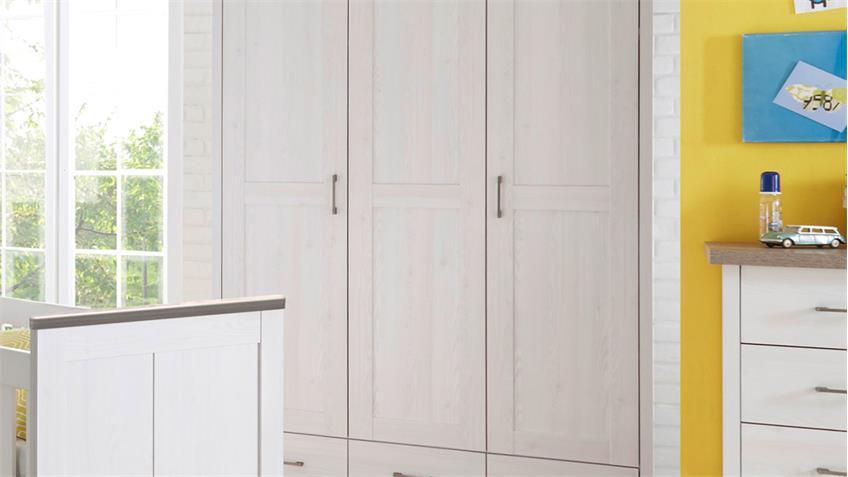 Kleiderschrank Luca Landhausstil in Pinie weiß und Trüffel