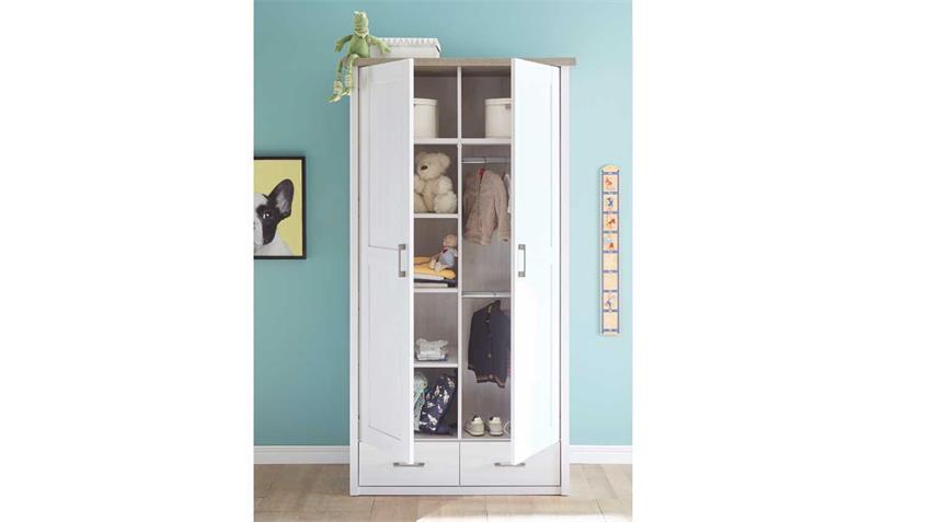 Kleiderschrank LUCA Schrank für Babyzimmer Pinie weiß und Trüffel 106