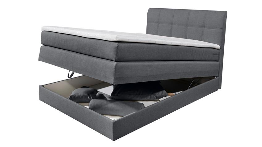 Boxspringbett NEW BEDFORD 1 Stoff anthrazit Federkern Bettkasten 120
