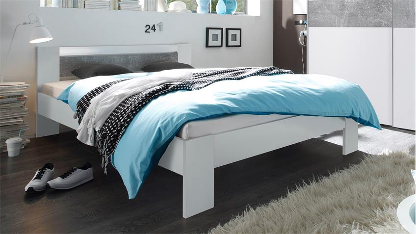 bett vega futonbett wei und beton mit rollrost und. Black Bedroom Furniture Sets. Home Design Ideas