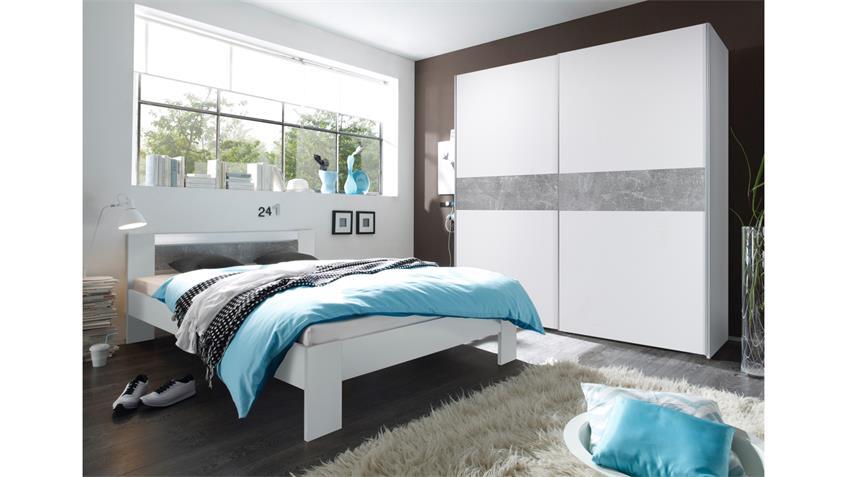 Futonbett Vega in weiß und Beton mit Rost und Matratze 140x200