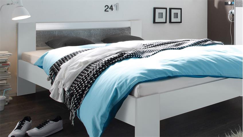Schlafzimmer Set Puls 2 und VEGA Schrank Bett in weiß und Beton