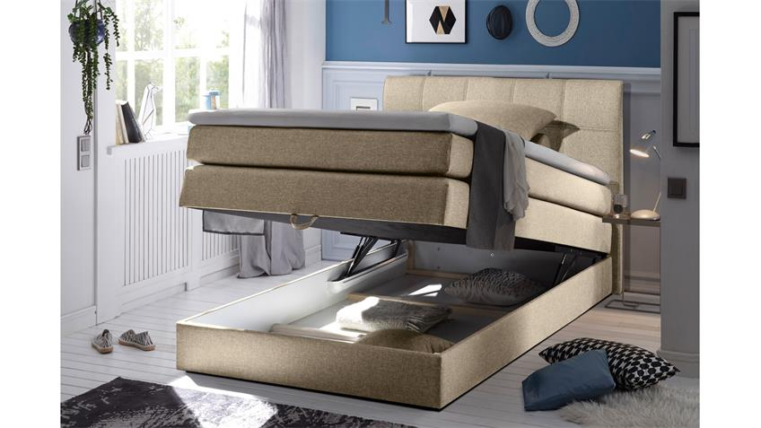 boxspringbett new bedford 1 in stoff beige federkern bettkasten 120 cm. Black Bedroom Furniture Sets. Home Design Ideas