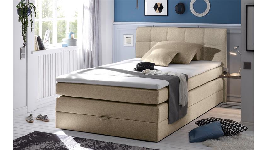 boxspringbett new bedford 1 in stoff beige federkern bettkasten 140 cm. Black Bedroom Furniture Sets. Home Design Ideas