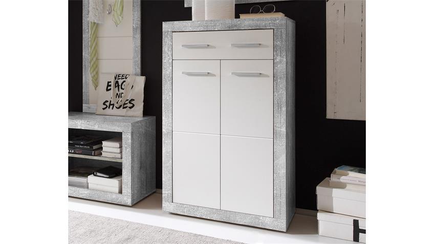 Schuhkommode Stone Schuhschrank grau weiß Betonoptik