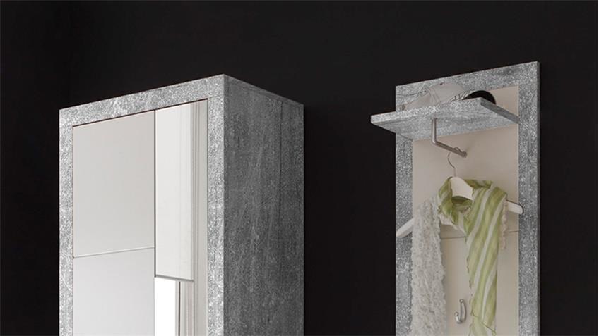 Garderobe stone in beton optik grau und wei glanz inkl for Garderobe betonoptik