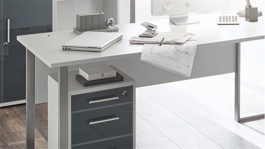 Eckschreibtisch Office Lux in lichtgrau weiß 223x170 cm
