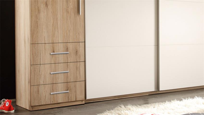 Kleiderschrank 3-türig Schwebetürenschrank Store Eiche San Remo hell weiß