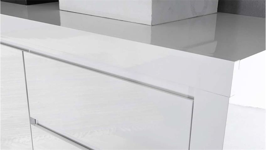 Kommode 2 Paint Anrichte Sideboard weiß Hpochglanz Lack 107 cm
