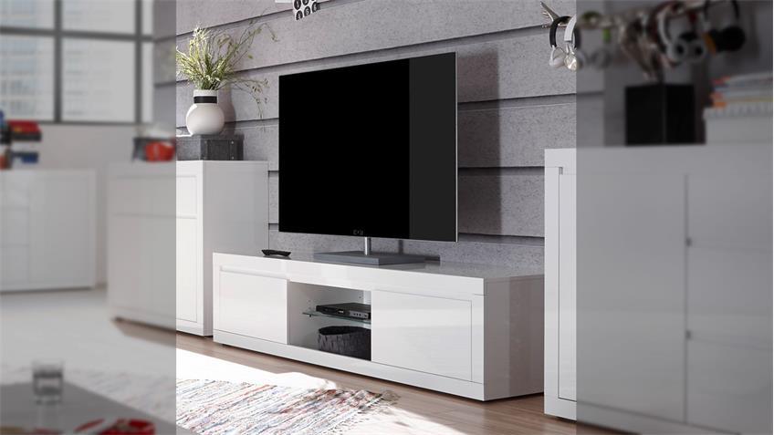 Lowboard PAINT TV-Board Fernsehschrank weiß Hochglanz Lack 180 cm