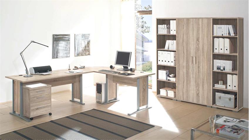 Büro OFFICE LINE Set Winkelschreibtisch Rollcontainer Aktenregal Sonoma Eiche