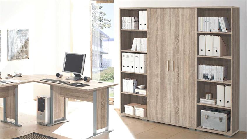 b ro office line set winkelschreibtisch rollcontainer aktenregal sonoma eiche. Black Bedroom Furniture Sets. Home Design Ideas