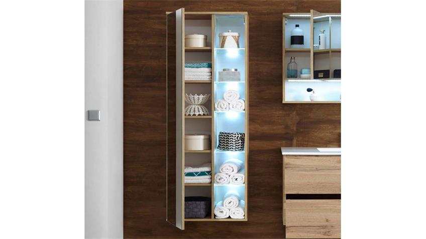 Hängeschrank BEST Wildeiche mit Spiegel LED-Beleuchtung und softclose